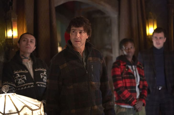 Arj Barker, Bobby Wilson, Hannan Younis, and Kelly Penner in What We Do in the Shadows
