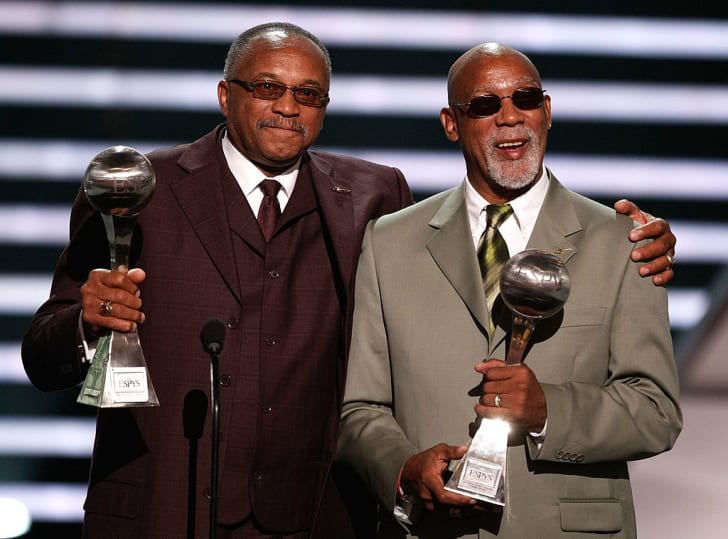 Tommie Smith and John Carlos accept the Arthur Ashe Award for Courage at the 2008 ESPY Awards in Los Angeles, California.