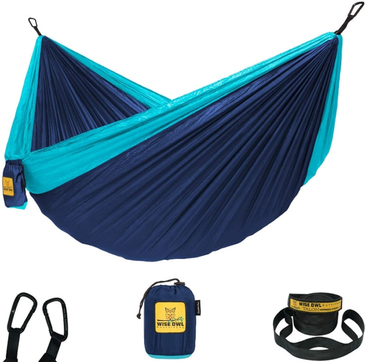 The Wise Owl Outfitters hammock is pictured