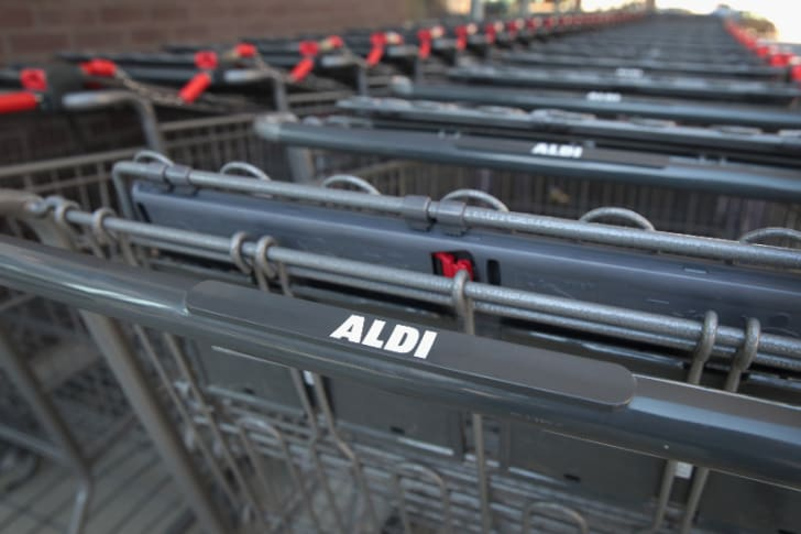 Aldi shopping carts are pictured in Chicago, Illinois in June 2017