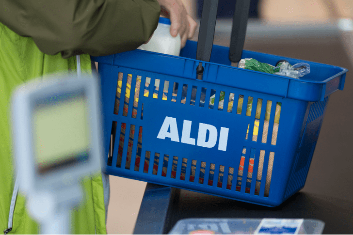 An Aldi shopping basket is pictured in Cardiff, United Kingdom in August 2018