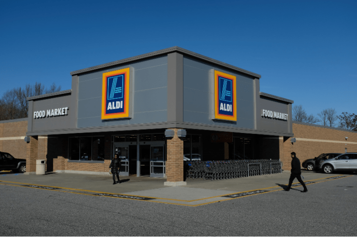 Customers are pictured in front of an Aldi store in Edgewood, Maryland in December 2017