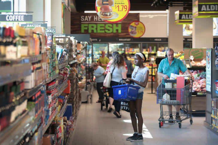 Customers are pictured inside of an Aldi store in Chicago, Illinois in June 2017