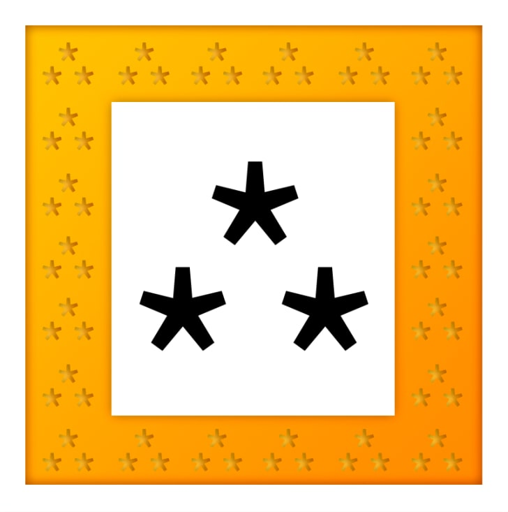The asterism, a punctuation mark consisting of three asterisks arranged in a triangle