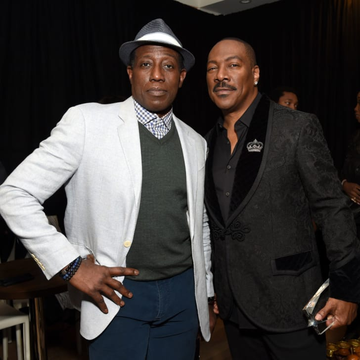 Wesley Snipes and Eddie Murphy attend Critics' Choice Association's Celebration of Black Cinema at Landmark Annex on December 02, 2019 in Los Angeles, California