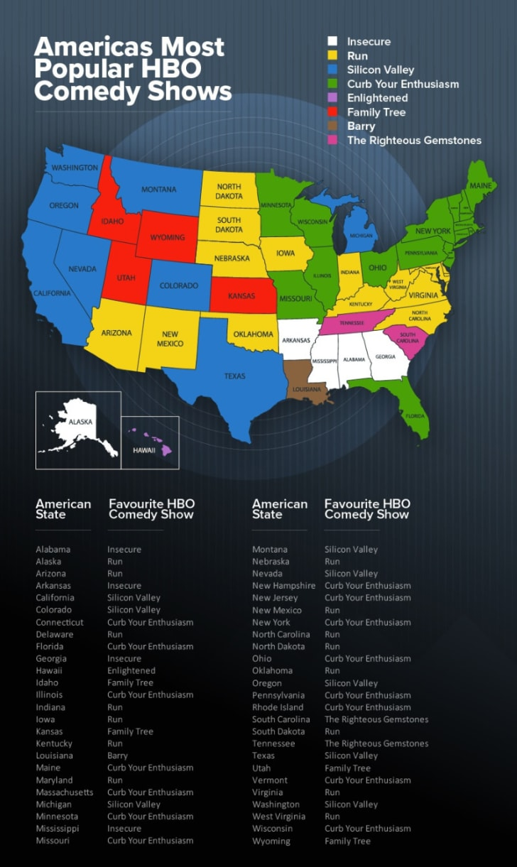 A map of the most popular HBO shows in each state is pictured