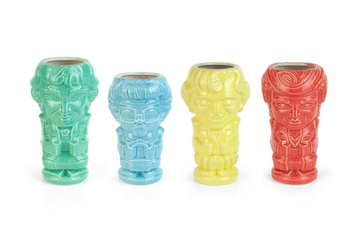 A set of 'The Golden Girls' tiki mugs is pictured