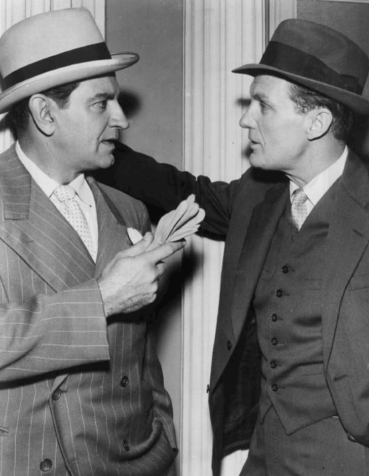 Actor Robert Stack is pictured with actor Bruce Gordon in a publicity still for 'The Untouchables' in 1962