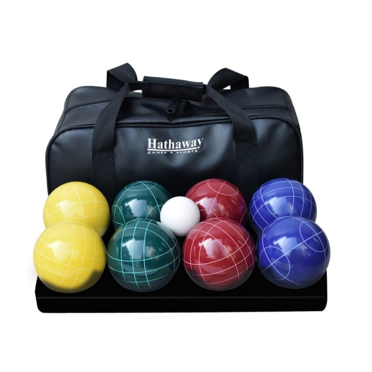 A bocce ball set