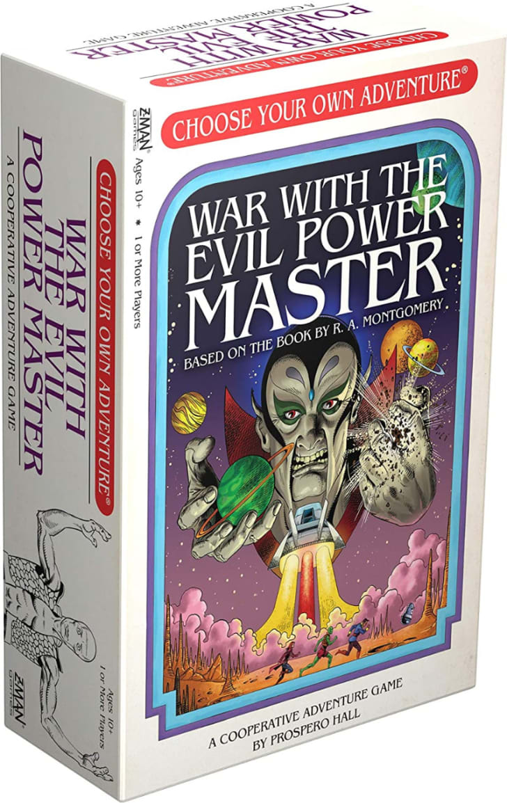 The 'Choose Your Own Adventure: War With the Evil Power Master' board game is pictured