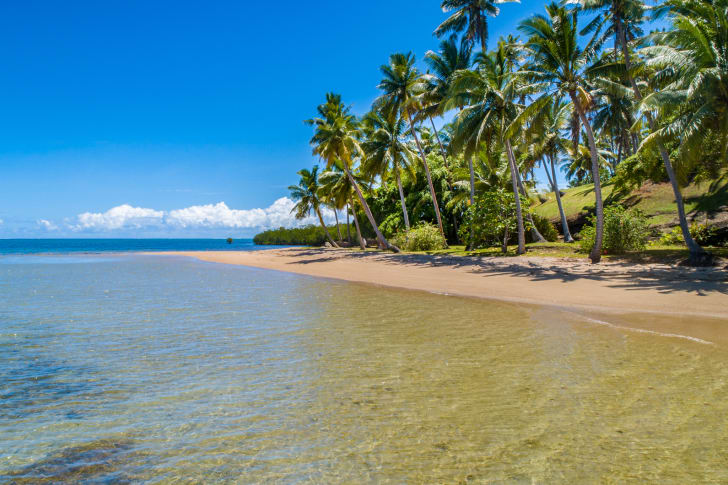 Beach on private island.