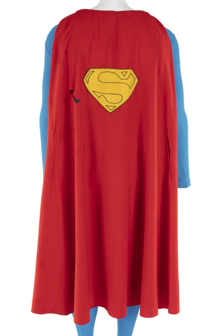 A cape worn by Christopher Reeve in the 'Superman' movies is pictured