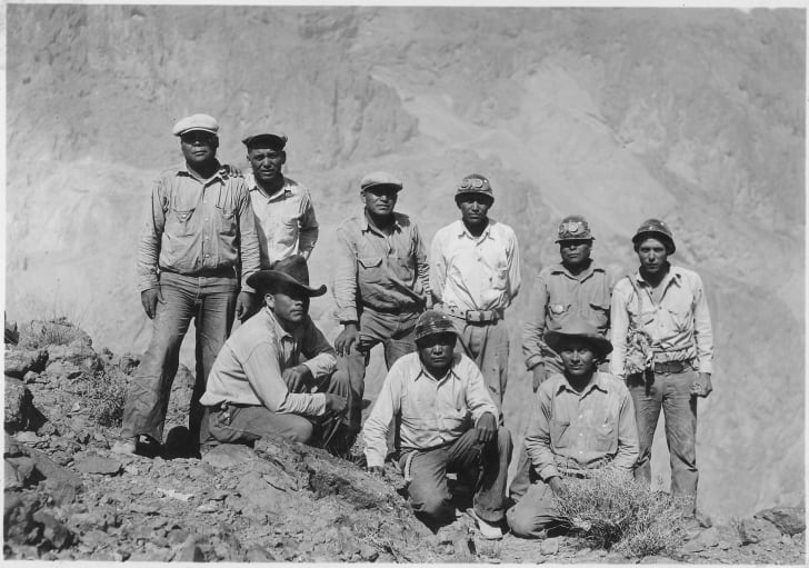 Native Americans employed on the construction of Hoover Dam as high-scalers.