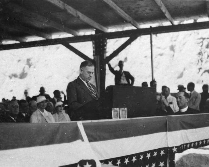Interior Secretary Harold L. Ickes delivers his talk at the dedication of Hoover Dam