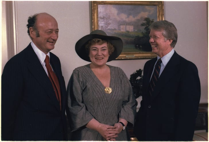 Mayor Ed Koch of New York, Congresswoman Bella Abzug (Dem-NY) and President Jimmy Carter during a meeting in 1978.