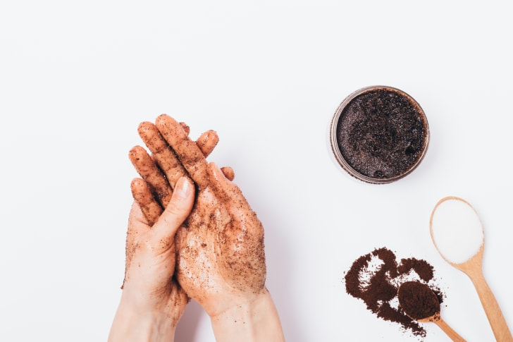 hand scrub with coffee grounds