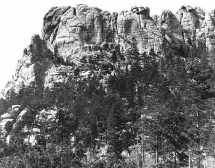 The Six Grandfathers before construction began on the Mount Rushmore National Memorial.