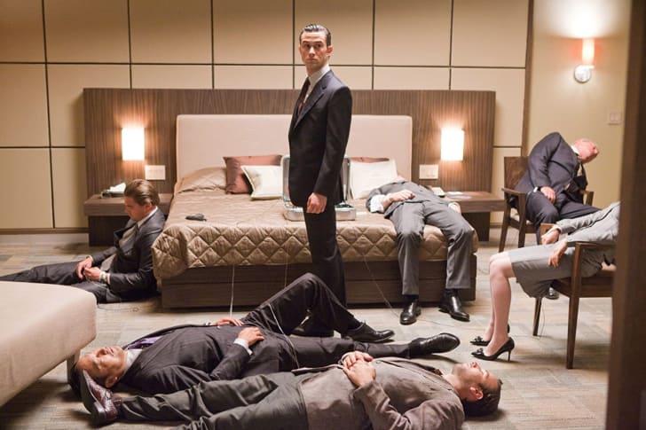 Leonardo DiCaprio, Tom Berenger, Joseph Gordon-Levitt, Tom Hardy, Cillian Murphy, Ellen Page, and Ken Watanabe in Inception (2010)