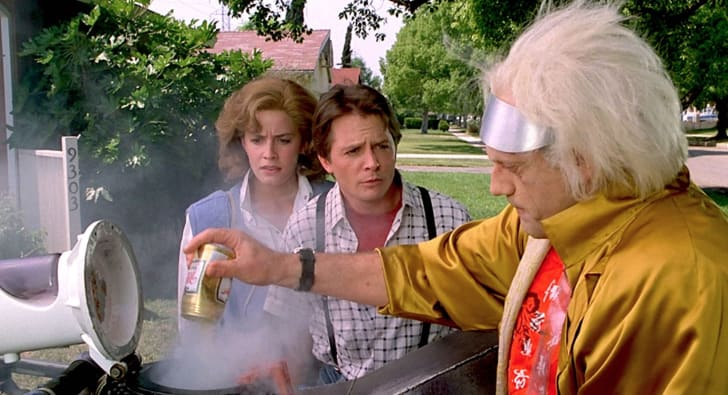 Elisabeth Shue, Michael J. Fox, and Christopher Lloyd in 'Back to the Future Part II' (1989)