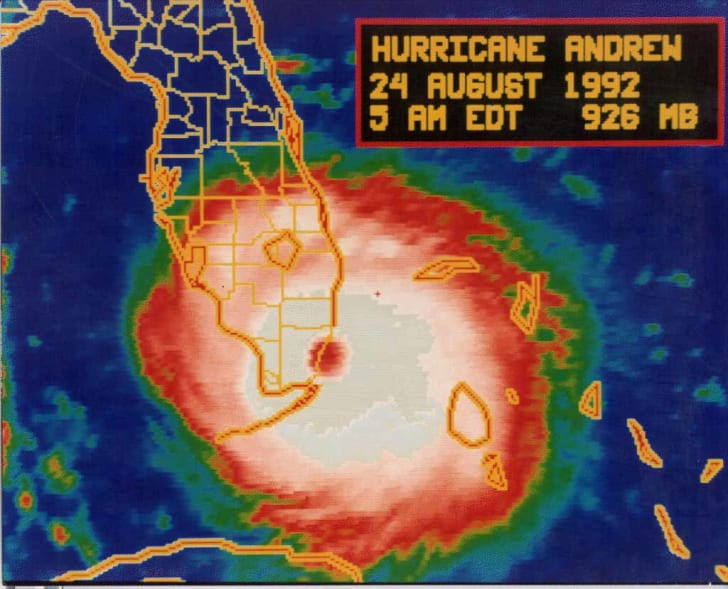 Infrared image of Hurricane Andrew