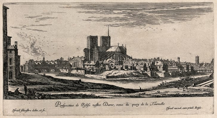 17th-century etching of paris notre-dame cathedral