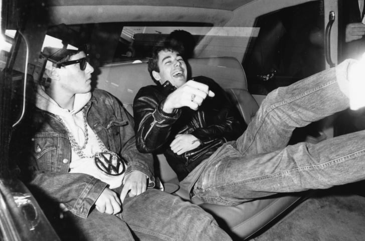 Beastie Boys Mike D (left) and Adam Yauch leaving their hotel in London in 1987.