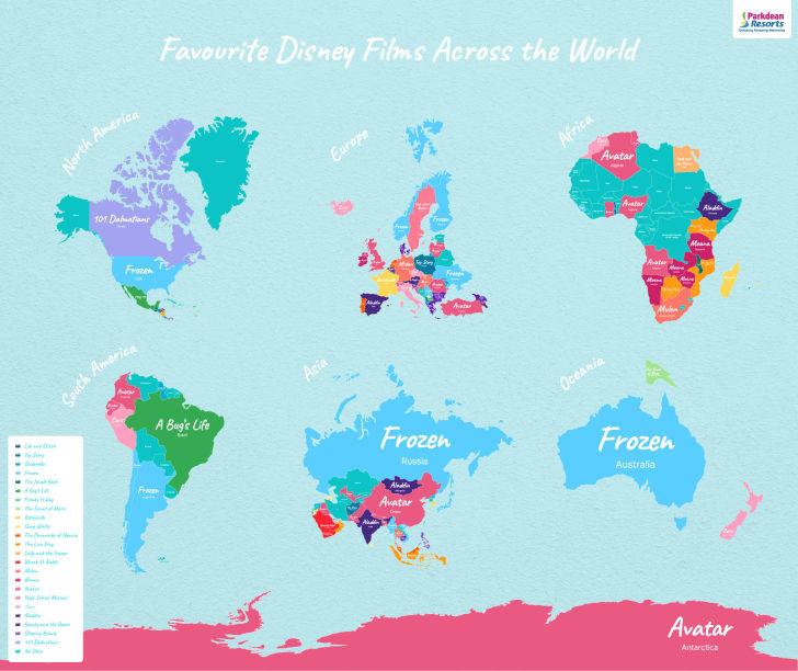 Descubra qual o filme mais popular da Disney em cada país do mundo