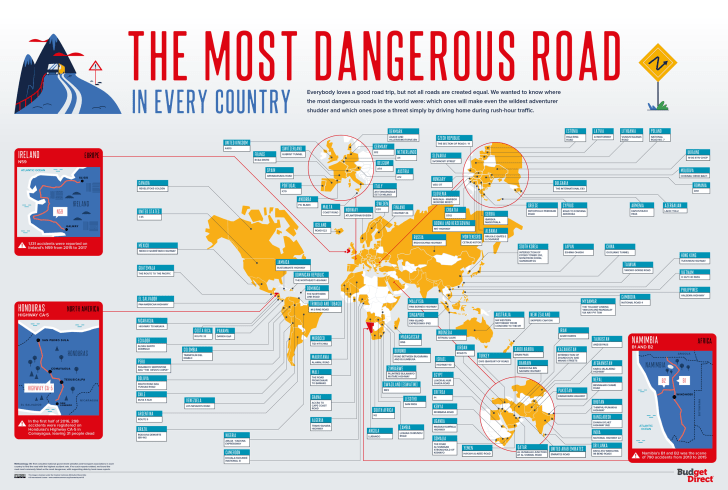 Map of the most dangerous roads in every country.