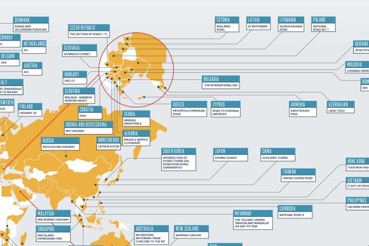 Mapa de las carreteras más peligrosas de cada país.