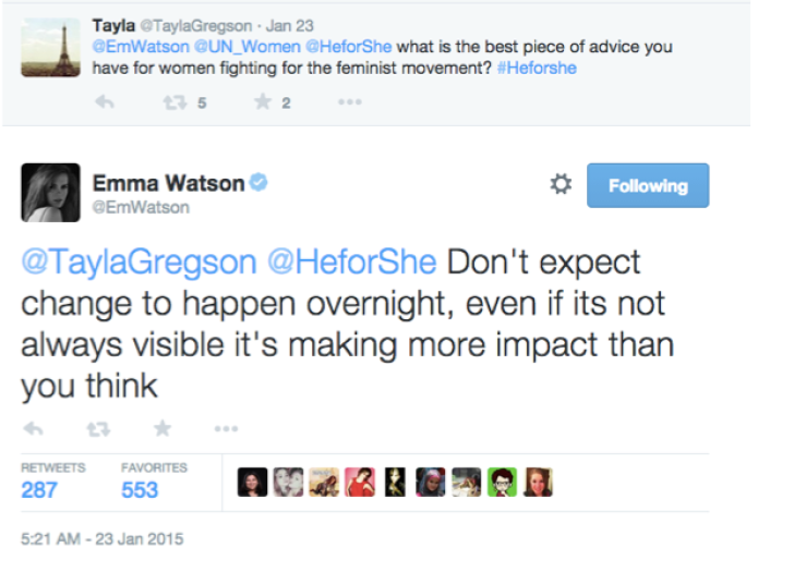 A tweet by Emma Watson reads: '@TaylaGregson @HeforShe Don't expect change to happen overnight, even if its not always visible it's making more impact than you think'