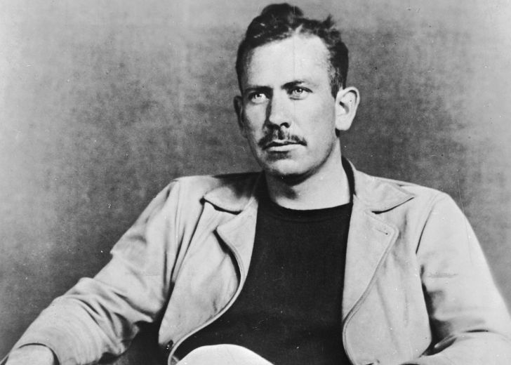 A black-and-white portrait of John Steinbeck