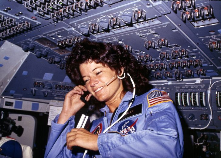 Sally Ride in space.