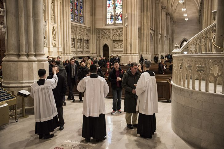 Ash Wednesday at St. Patrick's Cathedral in New York City in 2016.