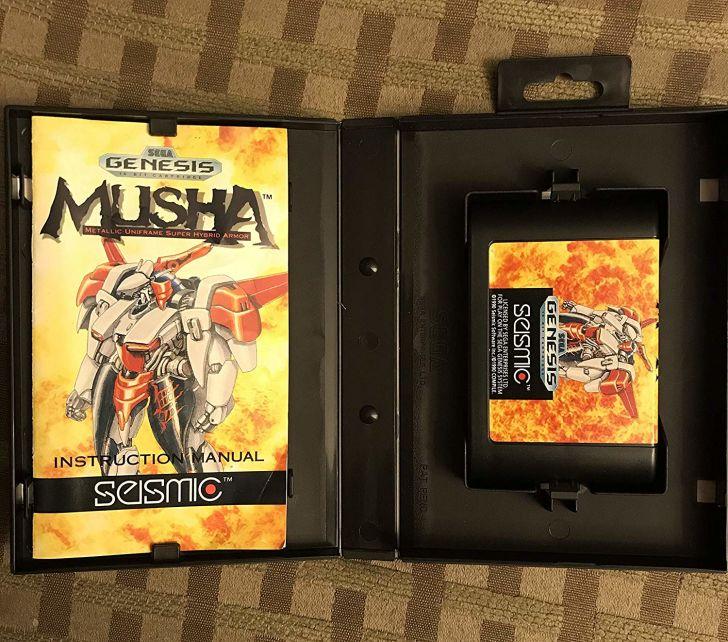 A copy of M.U.S.H.A. for Sega Genesis in its box