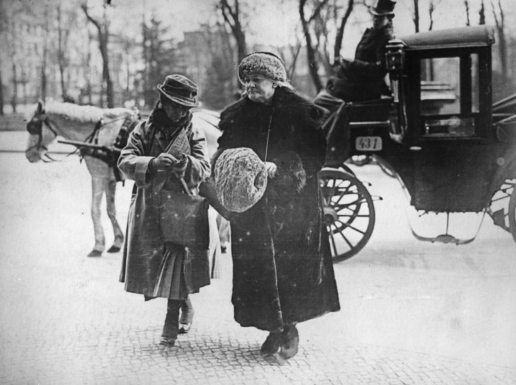 German Communist leader Clara Zetkin (1857 - 1933), known as Red Clara, and a companion