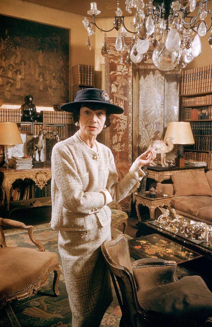 Coco Chanel in her Paris apartment, circa 1959.