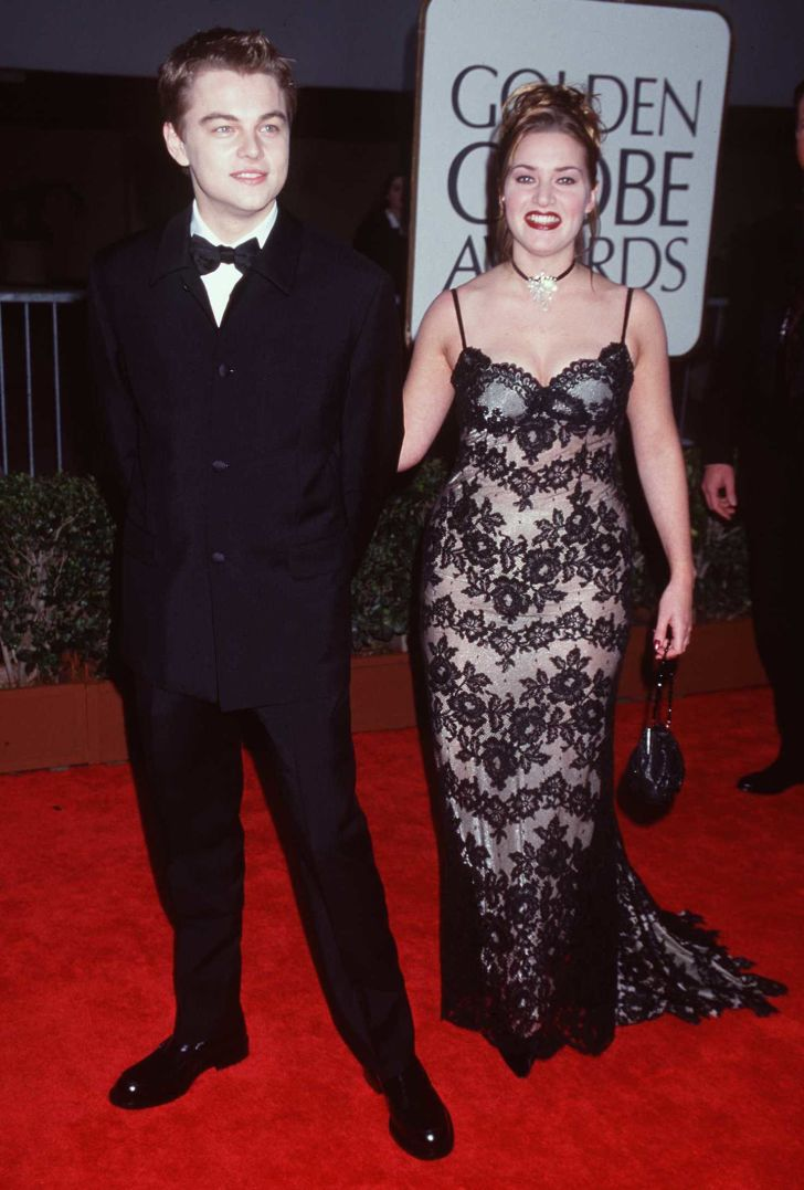'Titanic' stars Leonardo DiCaprio and Kate Winslet at the 1998 Golden Globe Awards.