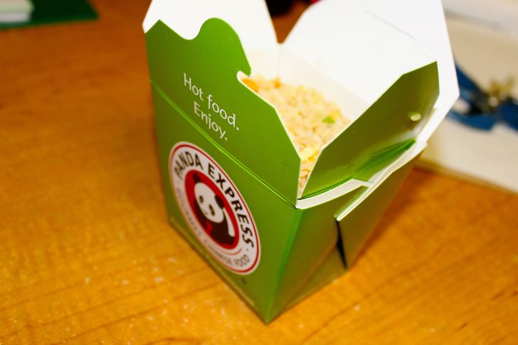 Box of takeout Chinese food from Panda Express