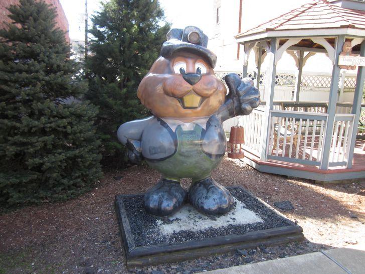 Wooden groundhog statue