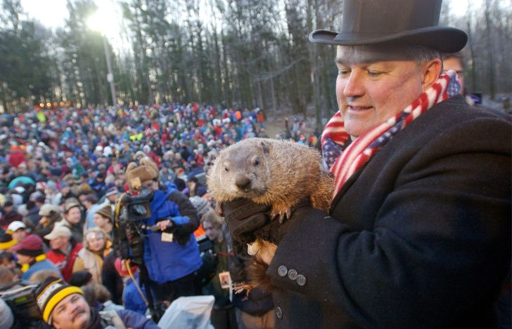 Punxsutawney Phil with a carrier.