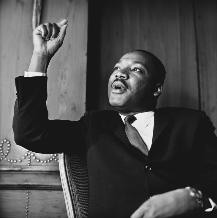 Dr. Martin Luther King Jr. at a press conference in London, September 1964.