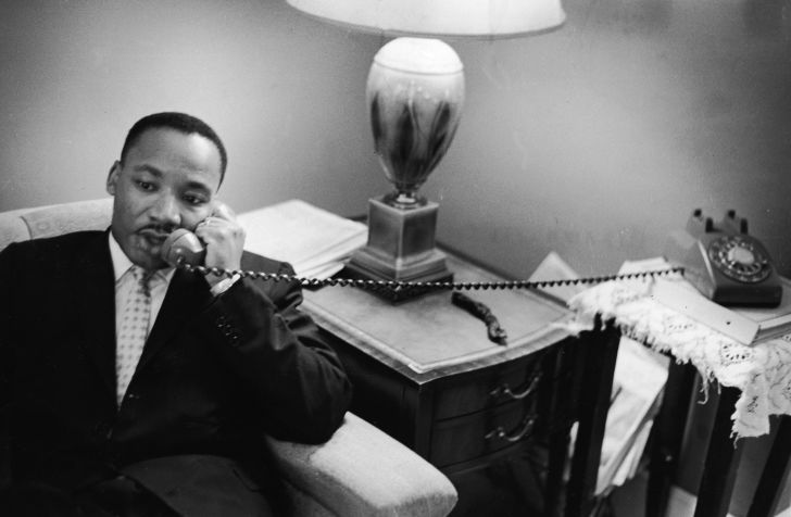 Dr. Martin Luther King Jr. speaks on the phone.