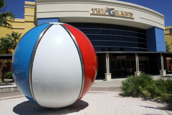 Oversized, decorative beach ball.