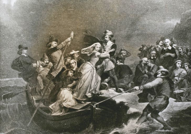 Pilgrims landing at Plymouth Rock
