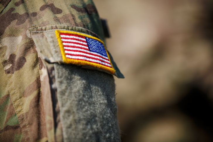 Flag patch sewn onto military uniform.