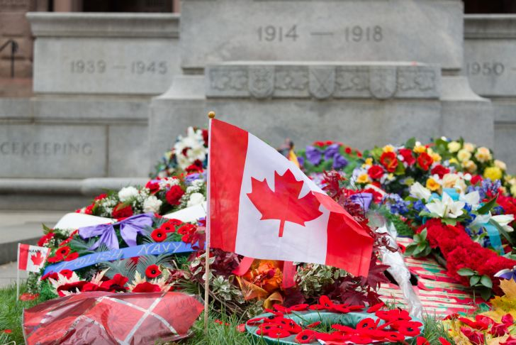 Canadian flag at war memorial.