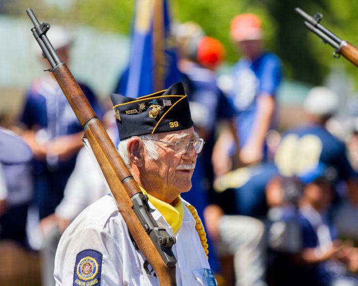 veteran marching in a military parade