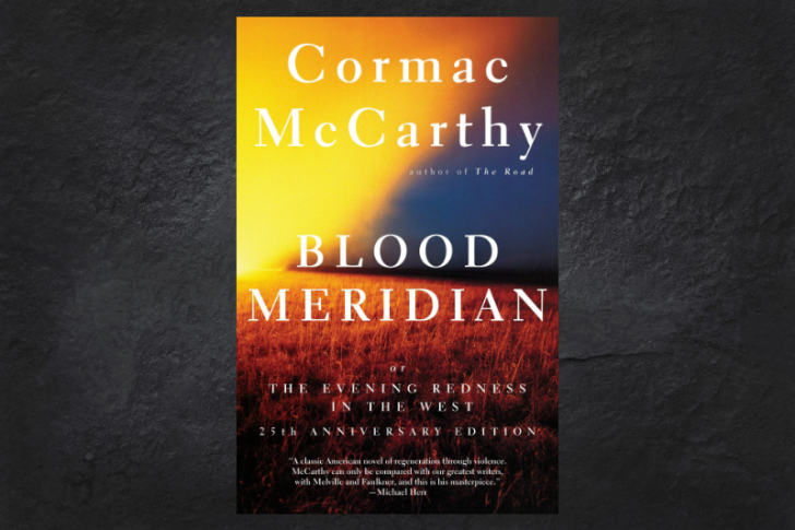 The cover of the book Blood Meridian on a black background