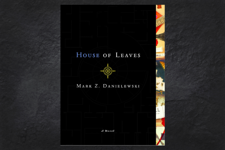 The cover of the book House of Leaves on a black background.