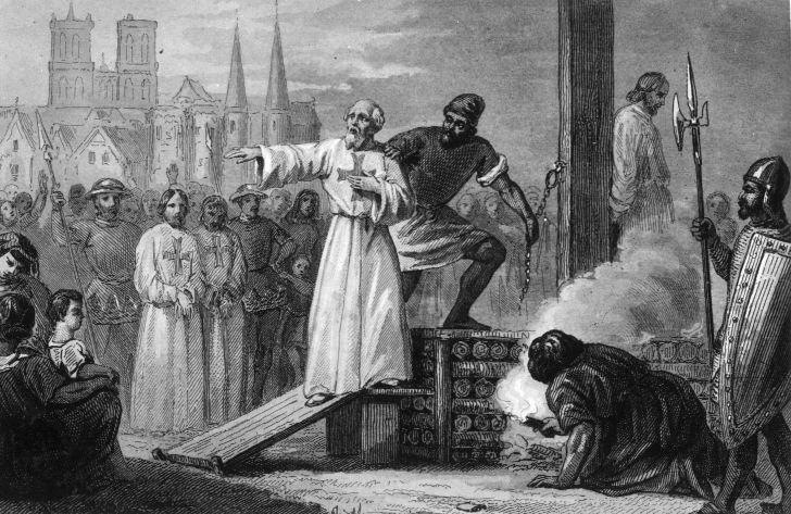 Jacques de Molay, the 23rd and Last Grand Master of the Knights Templar, is lead to the stake to burn for heresy in 1314.
